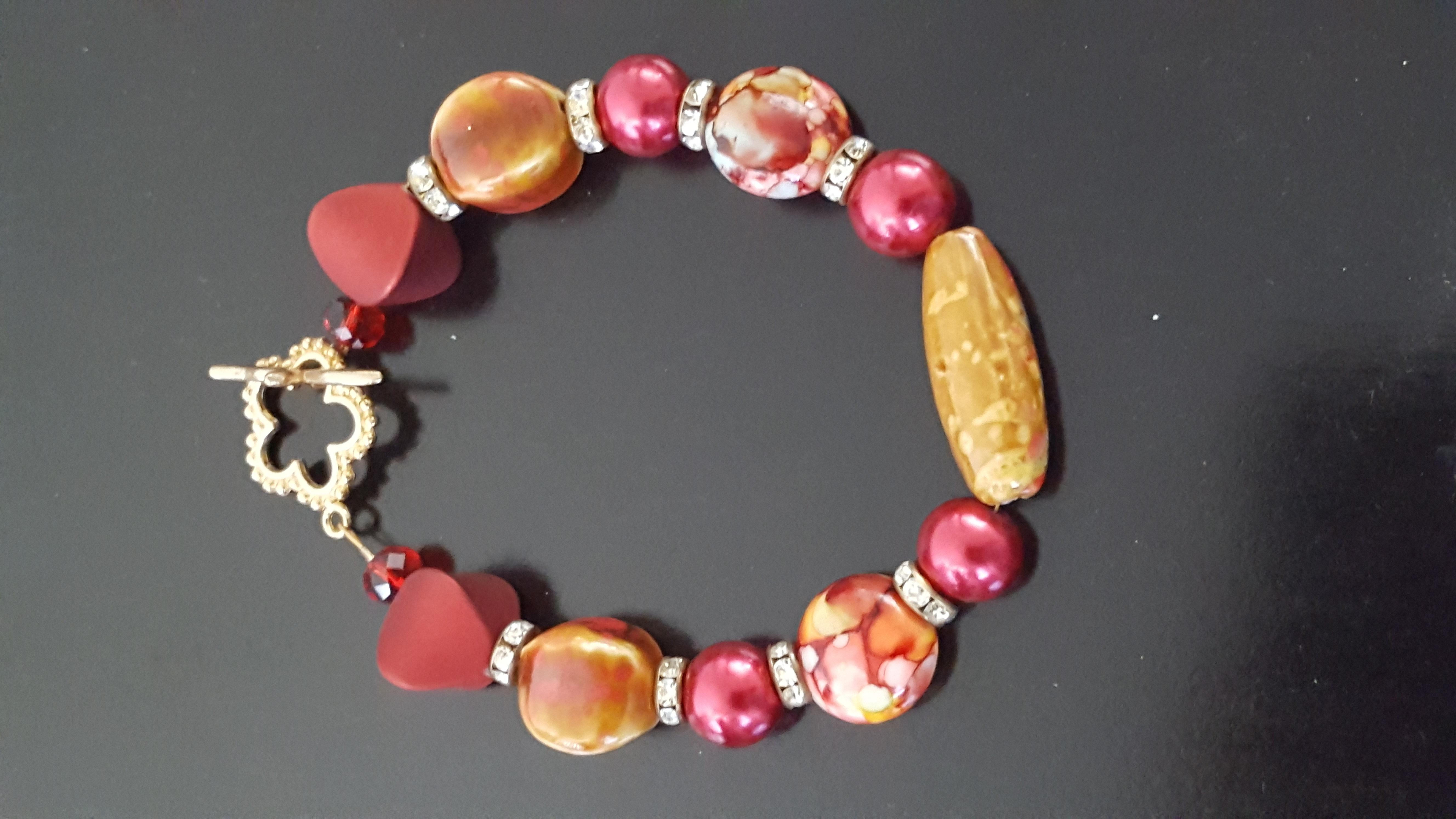 Gold and Wine bracelet