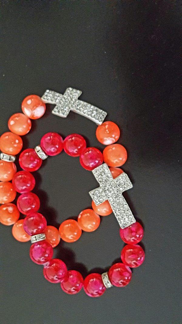 Crystal cross stretch bracelet