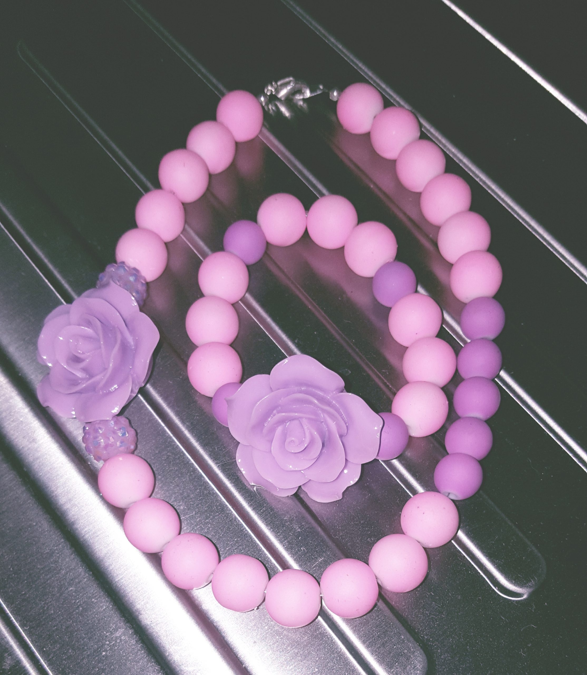 pink/purple kids necklace set